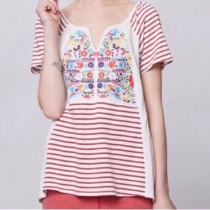 Tiny Embroidered Stripe Top Anthropologie size XS